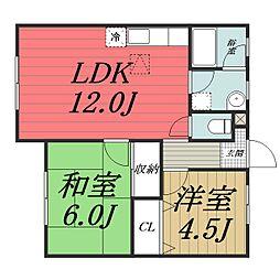 千葉県四街道市大日の賃貸アパートの間取り