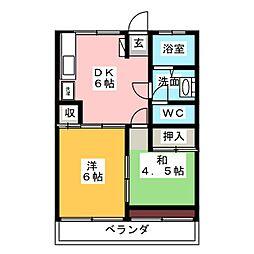 松原ハウス[4階]の間取り