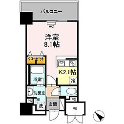 D'Forest甲南 5階1Kの間取り