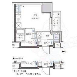 名古屋市営東山線 新栄町駅 徒歩9分の賃貸マンション 9階ワンルームの間取り