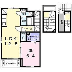 茨城県日立市本宮町5丁目の賃貸アパートの間取り