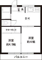 たま川コーポ[1階]の間取り
