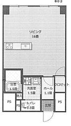 石渡ビル[603号室]の間取り