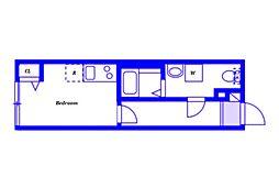 JR横浜線 大口駅 徒歩9分の賃貸アパート 1階ワンルームの間取り