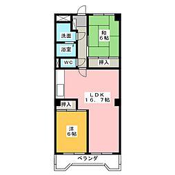 ユニーブル第2星ヶ丘A棟[5階]の間取り