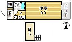 フラット平野南[7O3号室号室]の間取り