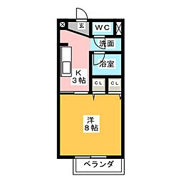 Surplus One キタガワ[1階]の間取り