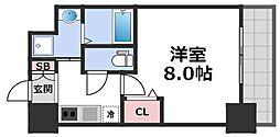 レジュールアッシュ天王寺舟橋 12階1Kの間取り