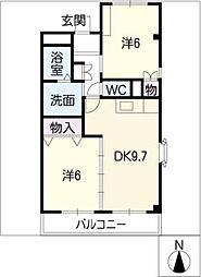 クオーレ・K2[2階]の間取り