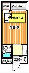 ポアール住之江[2階]の間取り