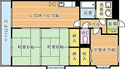 福岡県北九州市八幡西区鷹の巣2丁目の賃貸マンションの間取り
