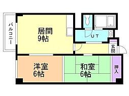 ローヤルハイツ厚別通(旧加藤ビル) 3階2DKの間取り