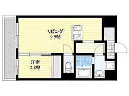 福岡市地下鉄空港線 大濠公園駅 徒歩3分の賃貸マンション 8階1DKの間取り