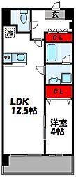 福岡県古賀市駅東2丁目の賃貸マンションの間取り
