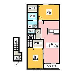スターブルB棟[2階]の間取り