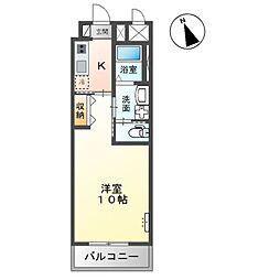 (仮称)市原市惣社新築マンション 2階1Kの間取り