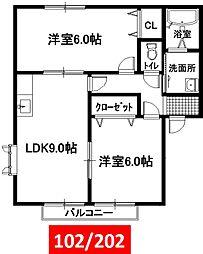 リヅミカーサ[A202号室号室]の間取り