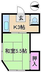 東京都北区王子3丁目の賃貸アパートの間取り