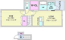 JR東北本線 南仙台駅 徒歩26分の賃貸アパート 2階1LDKの間取り