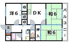 グリーン茨木[5階]の間取り