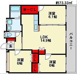 フェルト127 14階3LDKの間取り