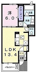 高松琴平電気鉄道琴平線 綾川駅 徒歩3分の賃貸アパート 1階1LDKの間取り