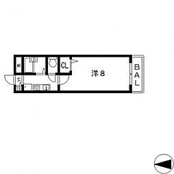 ミモザハウス菱屋西[202号室号室]の間取り