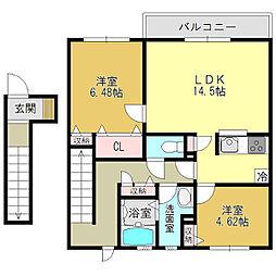 奈良県葛城市南花内の賃貸アパートの間取り