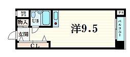 神戸新交通六甲アイランド線 アイランドセンター駅 徒歩5分の賃貸マンション 5階ワンルームの間取り