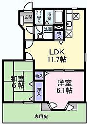 大阪府堺市南区檜尾の賃貸アパートの間取り