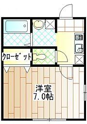 神奈川県相模原市南区鵜野森3の賃貸アパートの間取り