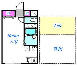 埼玉県さいたま市中央区大字下落合の賃貸アパートの間取り