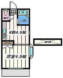 千葉県松戸市竹ヶ花の賃貸アパートの間取り