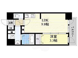 Osaka Metro御堂筋線 昭和町駅 徒歩3分の賃貸マンション 3階1LDKの間取り