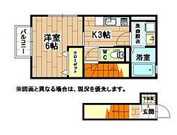 福岡県北九州市八幡東区祇園原町の賃貸アパートの間取り