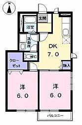 愛知県海部郡大治町大字北間島字藤田の賃貸アパートの間取り