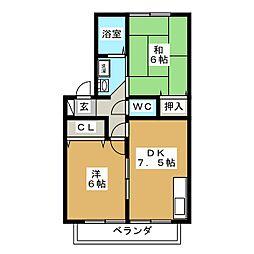 セジュールY・O・B[2階]の間取り