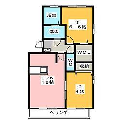 セジュール・フーキ[1階]の間取り