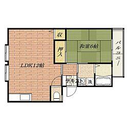 サンハイツ千原II[2階]の間取り