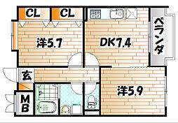 フェルト1215[5階]の間取り