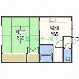 北海道札幌市東区北二十七条東14丁目の賃貸アパートの間取り