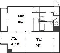 北海道札幌市厚別区厚別中央四条2丁目の賃貸マンションの間取り