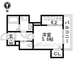 ラ・ヴィルト御所ノ内 3階1Kの間取り