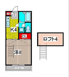 竹林コテージII[2階]の間取り