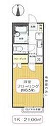 東京都江戸川区中央1丁目の賃貸アパートの間取り
