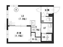 Terrace Kohaku 3階1LDKの間取り