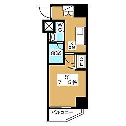 ニューガイア リルーム芝NO.28 7階1Kの間取り