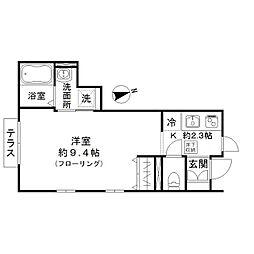 東京メトロ有楽町線 平和台駅 徒歩7分の賃貸アパート 1階ワンルームの間取り