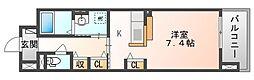 JR山陽本線 北長瀬駅 徒歩18分の賃貸マンション 1階1Kの間取り