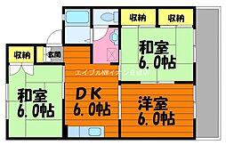岡山県倉敷市平田丁目なしの賃貸アパートの間取り